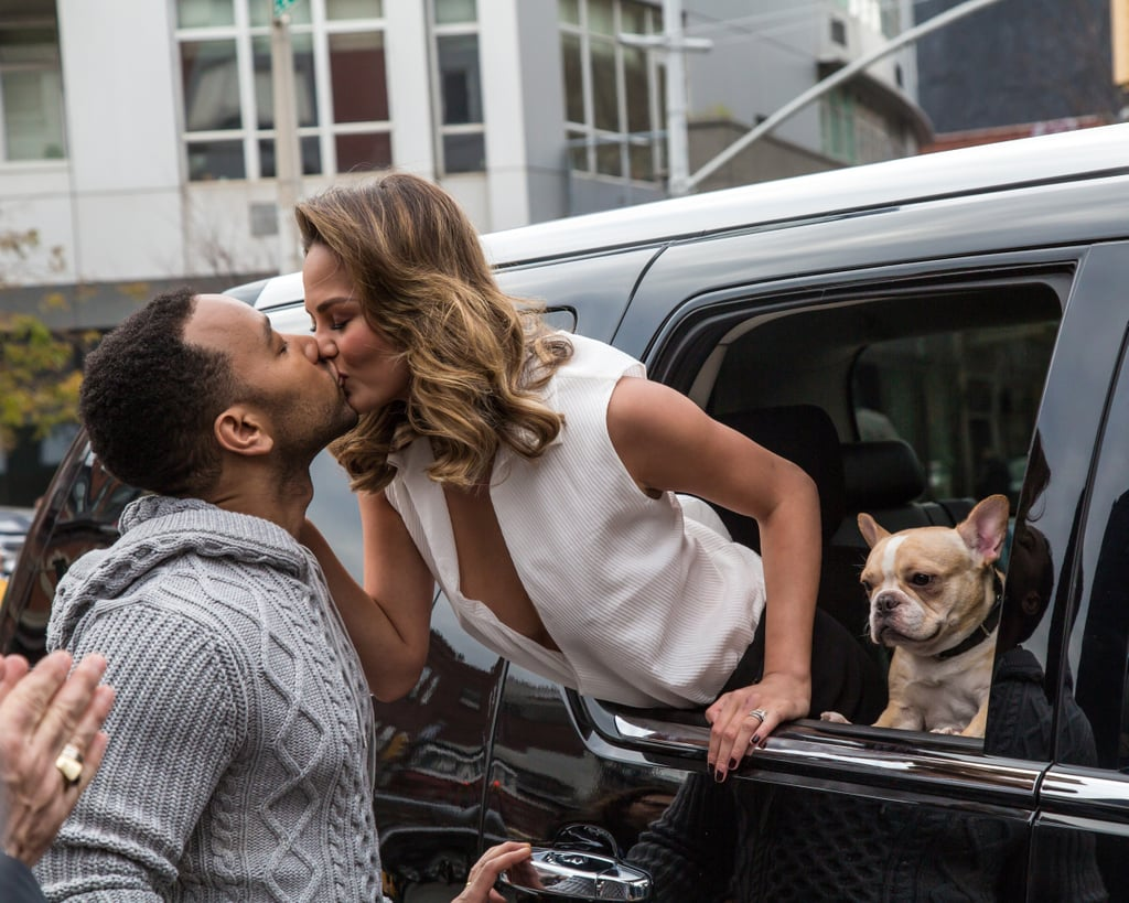 John and Chrissy showed sweet PDA — alongside their dog, Pippa — for a photo shoot in NYC in December 2014.