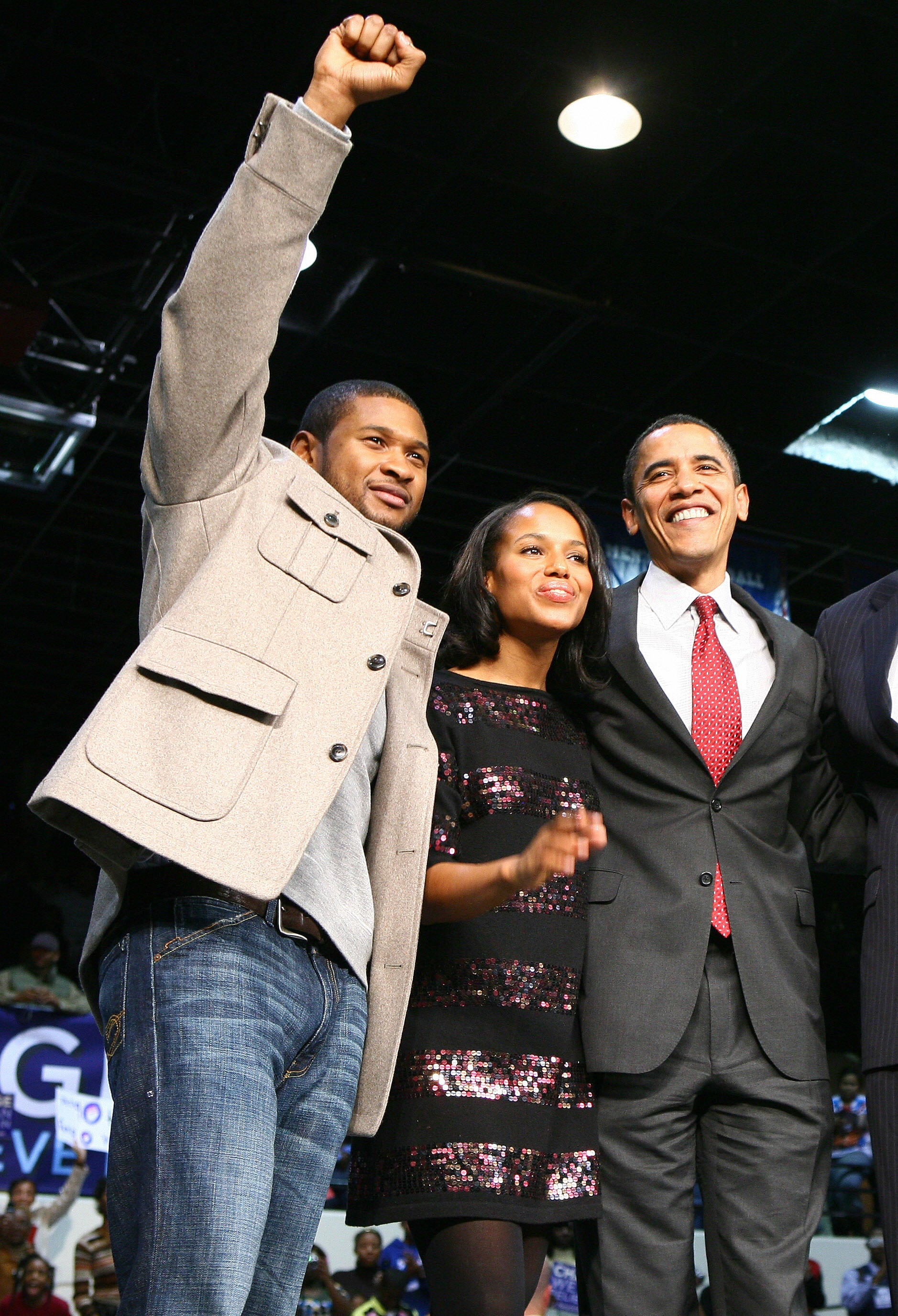 Usher and Kerry Washington campaign for President Obama during a rally in South Carolina. January, 2008.