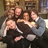 Yvette Nicole Brown hung out with the stars of The Walking Dead and host Chris Hardwick on Talking Dead. Source: Twitter user yvettenbrown