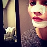Chrissy Teigen wore Bioré pore strips. Source: Instagram user chrissy_teigen