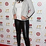 Jordin Sparks adhered to the cool-girl dress code in leather pants, a moto-style jacket, and sexy footwear.