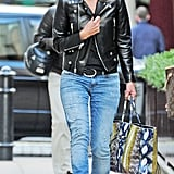 On April 17th, Kate donned jeans and a leather jacket with her Balenciaga walking around Hampstead.