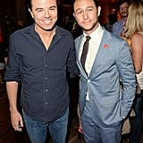 Seth MacFarlane and Joseph Gordon-Levitt posed together backstage at the Guys Choice Awards.