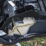 The damage to this car seat prevented harm to the occupant.