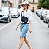 Style Bermuda Shorts With a Bucket Hat and PVC Heels
