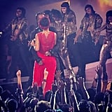 "Rihanna performed ""Cockiness (I Love It)"" with A$AP Rocky. Source: Instagram user vh1"