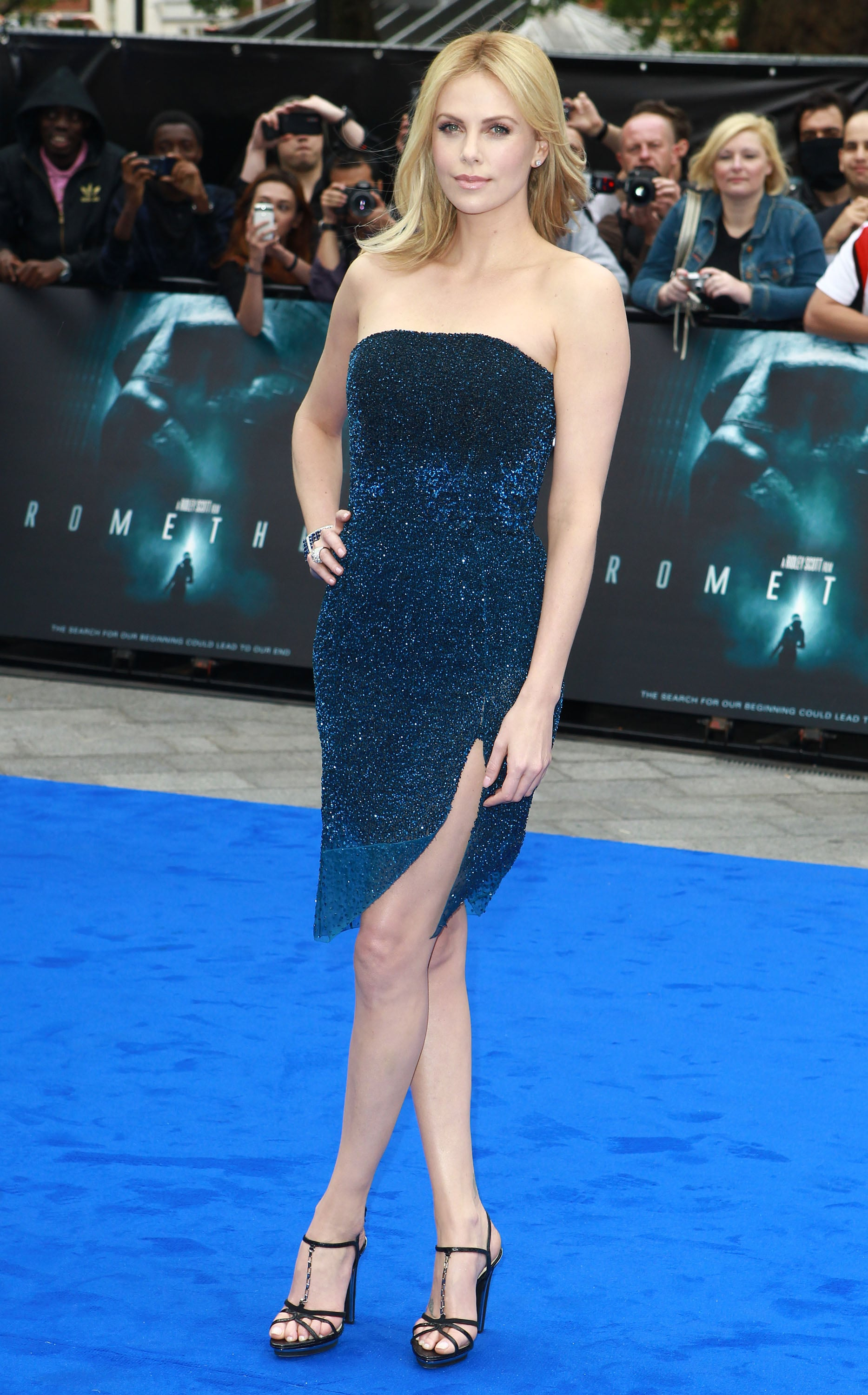 The star stole the spotlight in an electric blue shimmery Christian Dior Couture confection for the premiere of Prometheus.