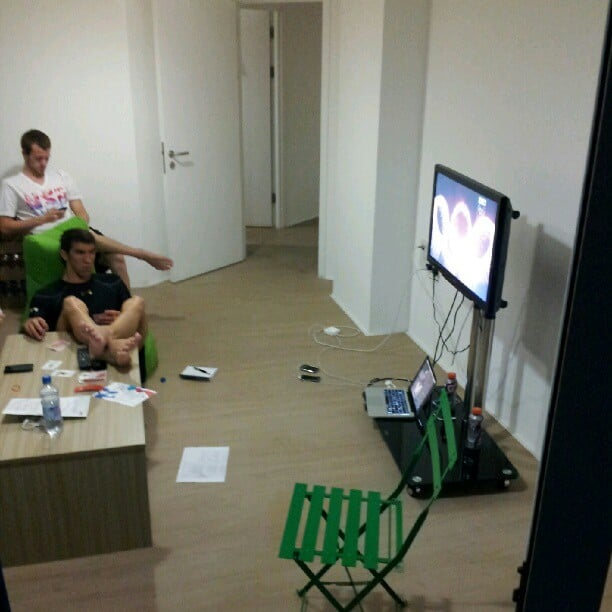 Olympic swimmer Nathan Adrian watched the opening ceremonies with Michael Phelps. Source: Twitter user Nathangadrian