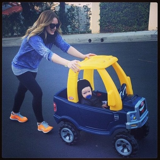"Hilary Duff went ""cruisin'"" with her son Luca Comrie. Source: Twitter user HilaryDuff"