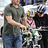Matt Damon covered up his crew cut with a bike helmet.