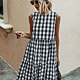 ECOWISH Plaid Shift Dress