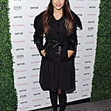 Hannah Simone wore a black coat.