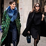 For a Touch of Glamour, Style a Printed Coat With a Fuzzy Scarf