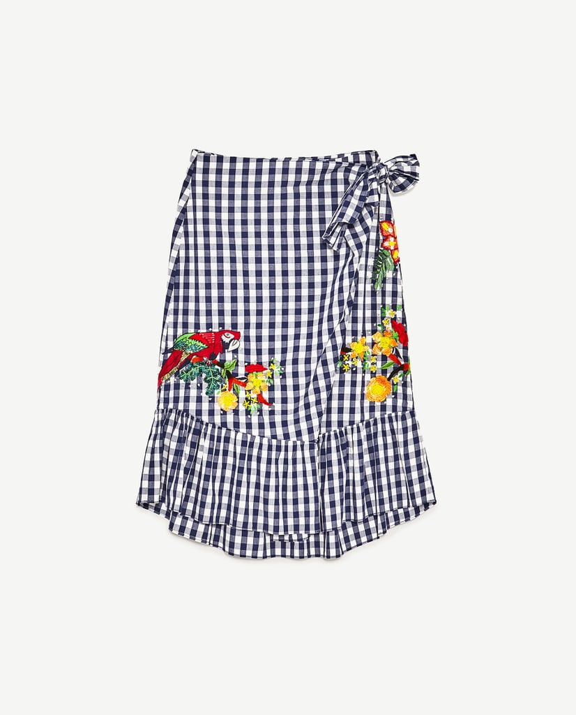 Gingham Embroidered Skirt