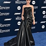 Wearing a rubberized silk Atelier Versace gown at the world premiere of Maleficent in 2014.