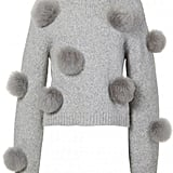 Tibi Alpaca Pom Pom Cropped Sweater
