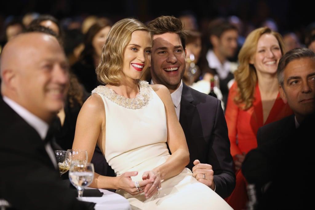 Emily Blunt sat on husband John Krasinski's lap during the Critics' Choice Awards.