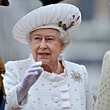 The queen arrived at Chelsea Pier for the Thames Diamond Jubilee Pageant.