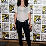 A casual Kristen stepped out in jeans and a sheer tee for the Breaking Dawn Part 1 press line at Comic Con.