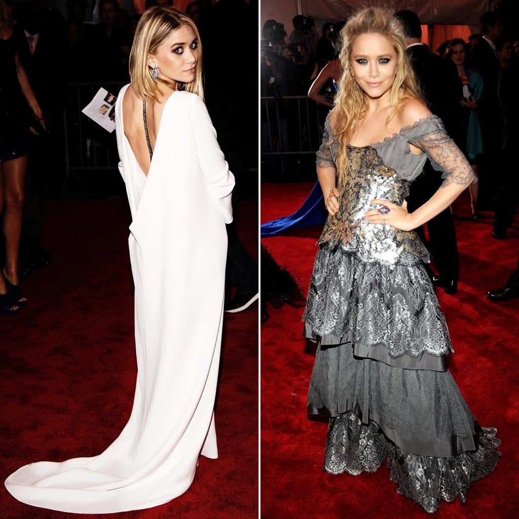 "Twinning combo: Donning exquisite couture creations, both girls followed the ""Model as Muse"" theme at the 2009 Costume Institute Gala.  Ashley was angelic in a draping, long-sleeved white gown with a plunging back. Mary-Kate looked statuesque in a tiered, Victorian-inspired Christian Lacroix gown and a perfectly messy half-up 'do."