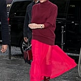Wearing a Burgundy Sweater With a Red Skirt