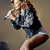 Rihanna began the show wearing a leather jacket.