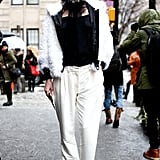 Chic Winter whites pulled this street-style moment together.