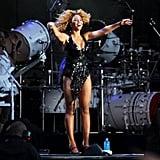 Beyoncé Knowles sings to the crowd.