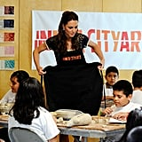 Kate Middleton wearing an apron at Inner City Arts in LA.