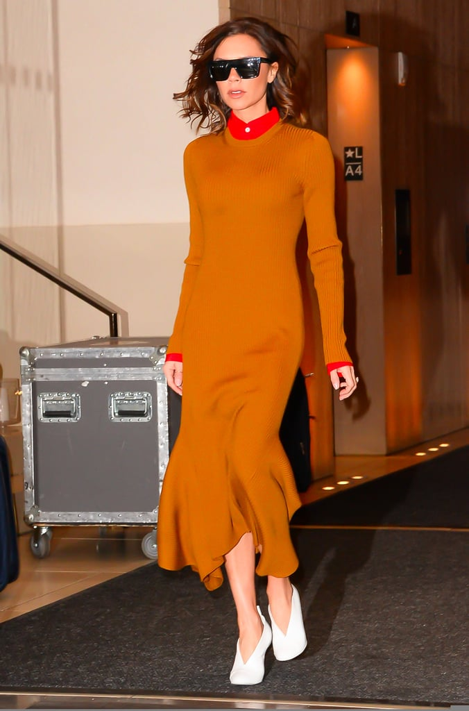 Victoria Beckham's White Mules in New York December 2016