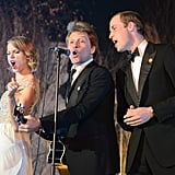 "Prince William performed ""Livin' on a Prayer"" with Taylor Swift and Jon Bon Jovi during the Winter Whites Gala at Kensington Palace in London, England."