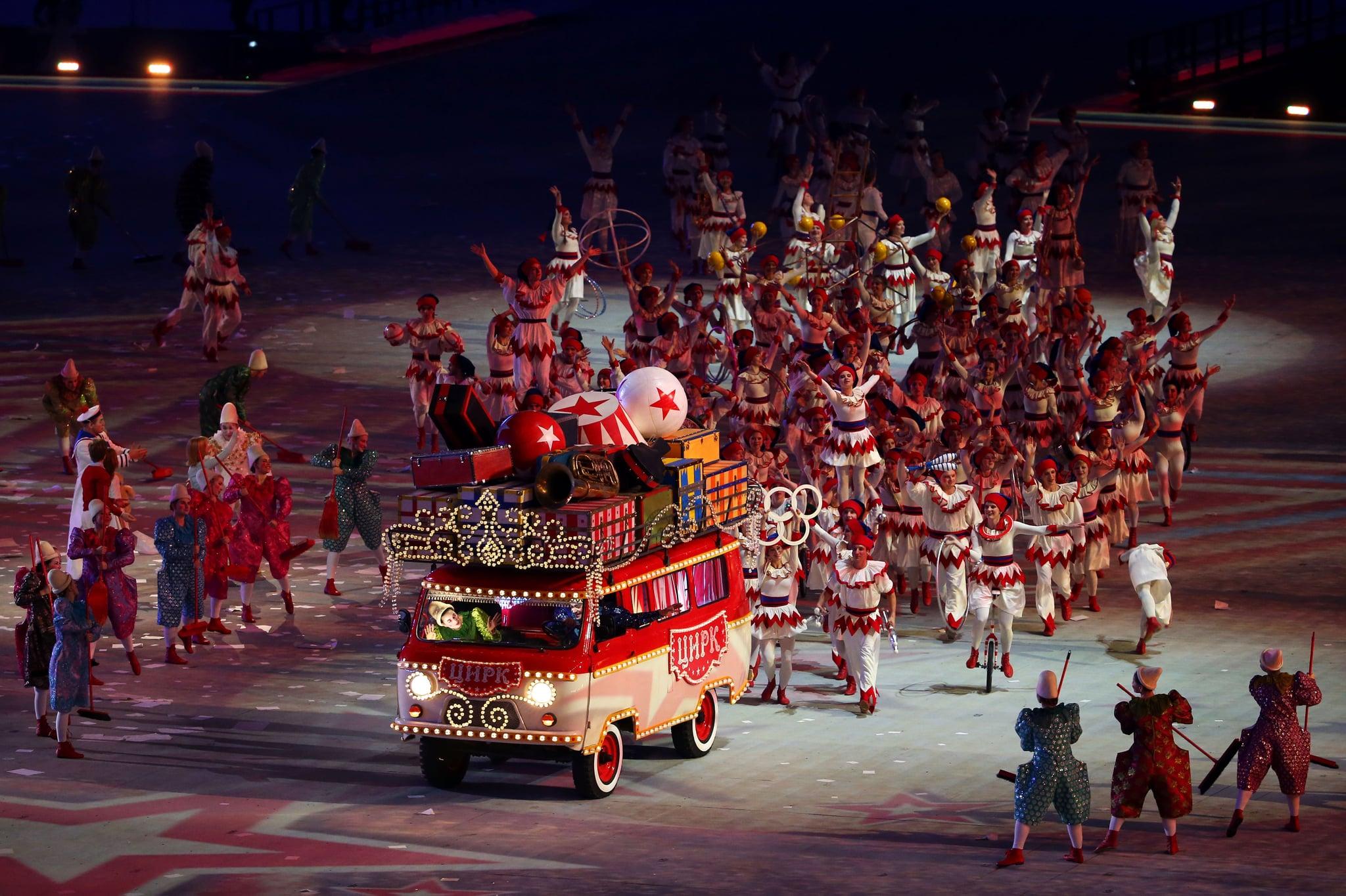 A circus bus made its way through the stadium.