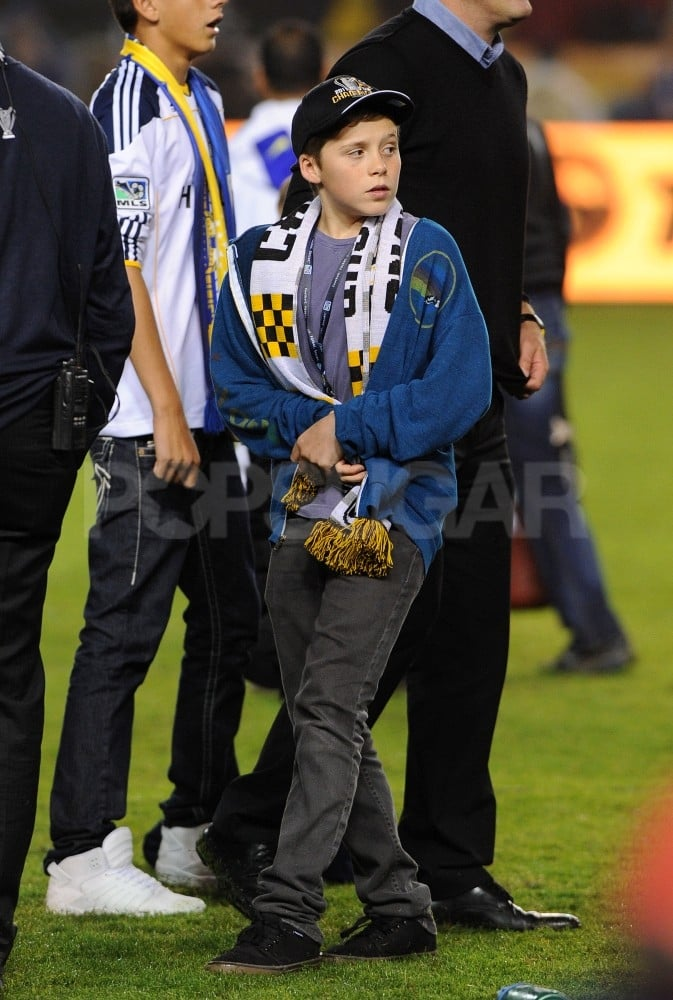 Brooklyn waited for his dad on the field.