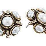 Oscar de la Renta Crystal & Faux Pearl Stud Earrings