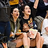 Kendall Jenner and Bella Hadid at Lakers Game November