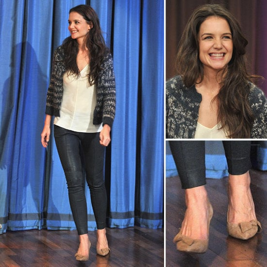 Katie Holmes sweetened her ensemble with bow-adorned pumps. Get the look for yourself.