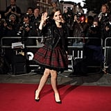 Emma Watson in a plaid dress at the GQ Men of the Year Awards in London.