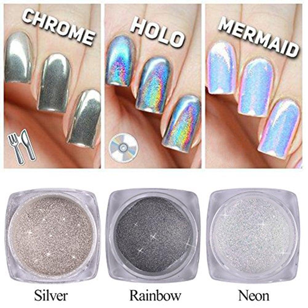 Qimyar Nail Chrome Powder Holo Silver Mirror Pigment
