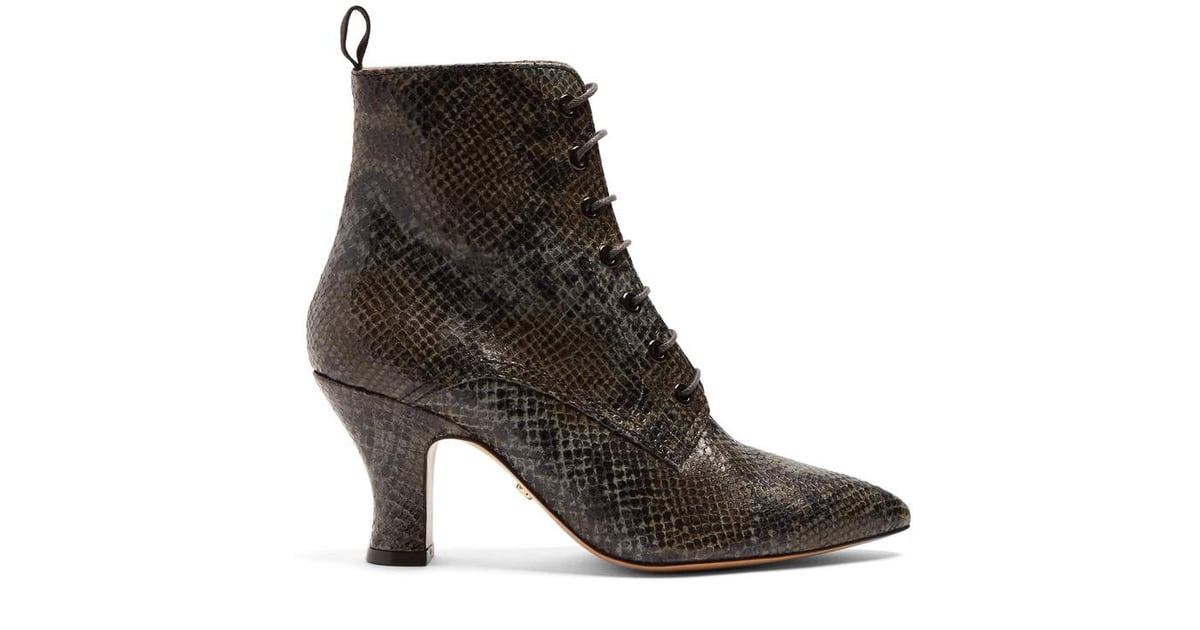 Victorian snakeskin-effect leather lace-up boots AlexaChung With Paypal Low Price PoUKps677m