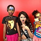 Selena Gomez had a hilarious reaction to a young fan's t-shirt. Source: Twitter user selenagomez