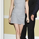 Kristen Stewart went the sophisticated (and just a little sexy) route in a gray Bec & Bridge sheath and black wedge pumps.