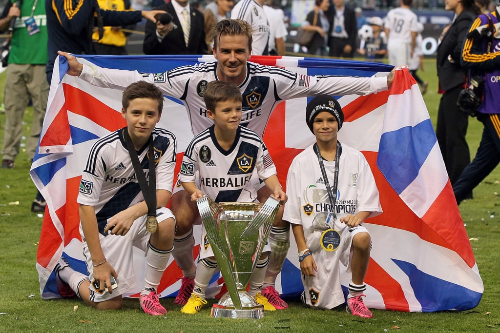 Brooklyn, Romeo, and Cruz took the field to celebrate David Beckham's MLS Cup championship win with the LA Galaxy in December 2012.