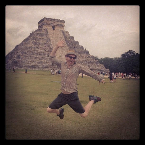 Jesse Tyler Ferguson jumped for joy while celebrating Sofia Vergara's birthday in Chichen Itza, Mexico. Source: Instagram user jessetyler