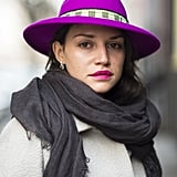 Your bolds can go both ways. Just ask Vlasta Guryeva, who coupled her magenta chapeau with a similar lip color. Source: Le 21ème   Adam Katz Sinding