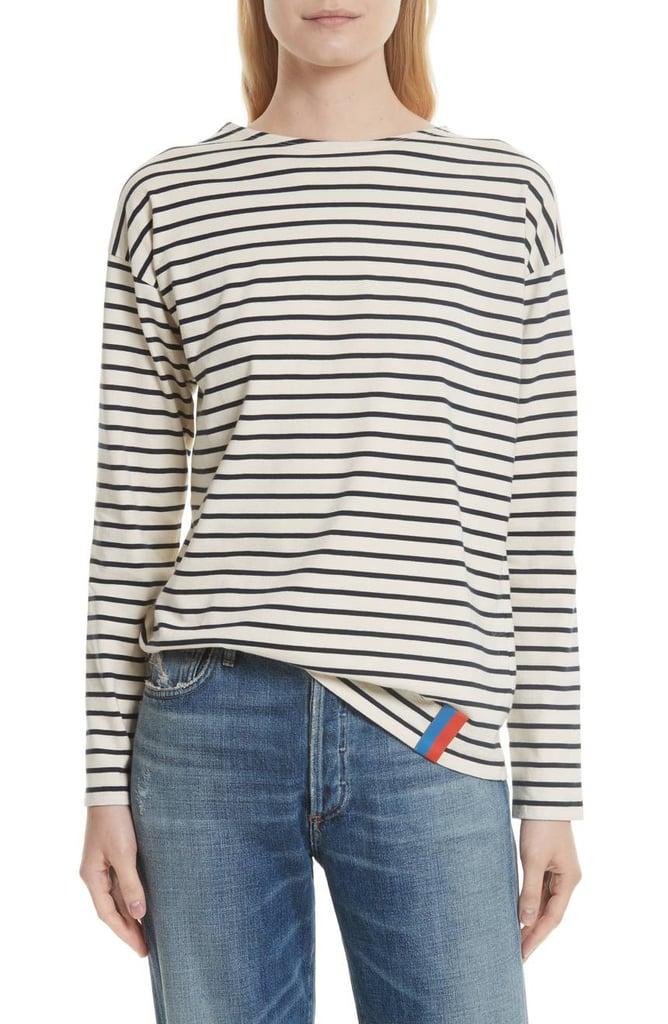 قميص The Boyfriend Stripe Cotton القطنيّ المخطّط من علامة Kule