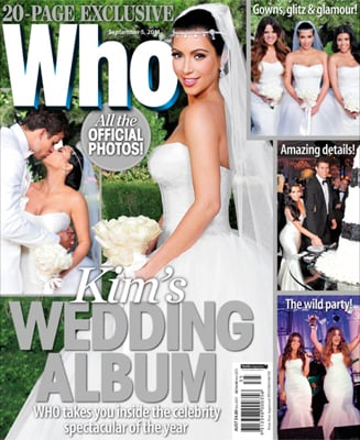 Kim Kardashian Wedding Dress Pictures on Who Weekly and People Magazine
