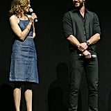 Elizabeth Banks shared the stage with Liam Hemsworth while wearing a cool denim ensemble — a cropped halter top with a high-waisted skirt — with two-toned platform sandals.