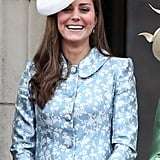 She smiled widely while wearing a Catherine Walker dress and hat from Lock & Co. The 2015 Trooping the Colour marked Kate's first public appearance since giving birth to Princess Charlotte on May 2.