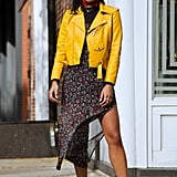 Work a Colourful Leather Jacket With a Floral Slip Dress