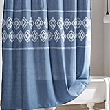 Peri Home Geo Embroidered Chambray Shower Curtain